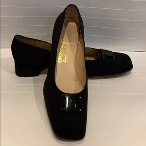 Salvatore Ferragamo Black Fabric Shoes
